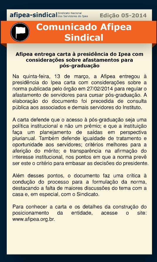 Comunica Ediçao 5  2014  Afipea entrega carta a presidencia do Ipea com consideraçoes sobre afastamento para posgraduaçao