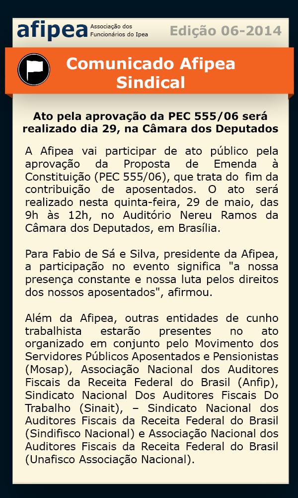 Comunica Ediçao 6  2014  Ato publico pela aprovaçao da PEC 55506 sera realizado nesta quintafeira 29 na Camara dos Deputados
