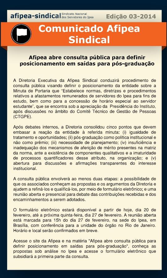 Comunica Ediçao3Afipea abre consulta publica para definir posicionamento em saidas para posgraduaçao