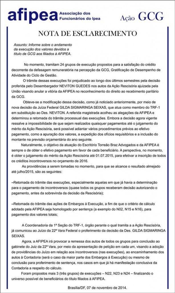 Comunicado Jurídico 082014  Andamento da execução dos valores devidos a título de GCG aos filiados à Afipea